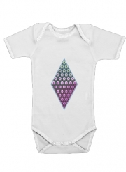 Body Bébé manche courte Abstract bright floral geometric pattern teal pink white