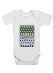 Body Bébé manche courte Abstract ethnic floral stripe pattern white blue green