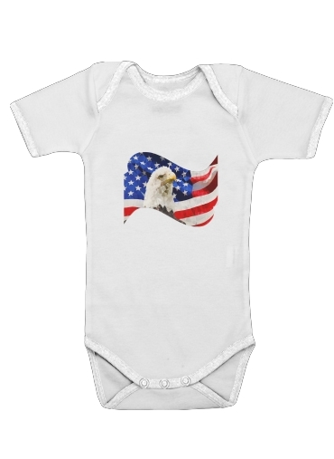 Baby Onesie American Eagle And Flag White Kids