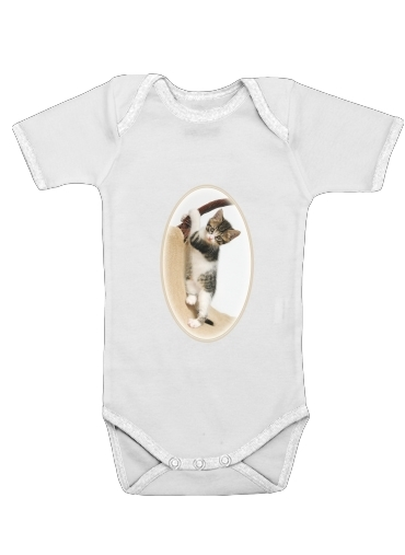 Baby cat, cute kitten climbing dla Baby short sleeve onesies