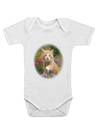 Cute ginger kitten in a flowery garden, lovely and enchanting cat dla Baby short sleeve onesies