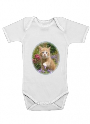 Baby Onesie Cute ginger kitten in a flowery garden, lovely and enchanting cat