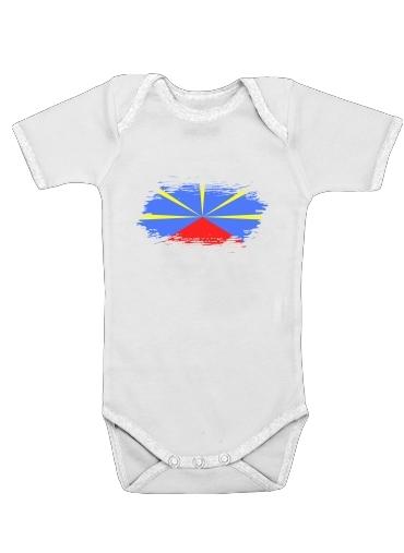 Drapeau de la reunion dla Baby short sleeve onesies