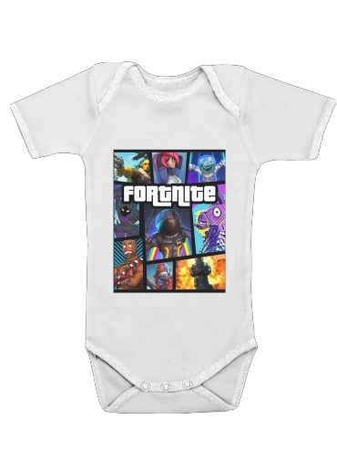 Fortnite - Battle Royale Art Feat GTA dla Baby short sleeve onesies