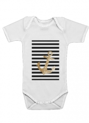Baby Onesie gold glitter anchor in black
