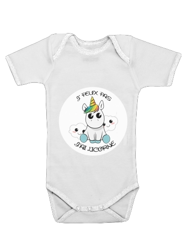 Je peux pas j'ai licorne for Baby short sleeve onesies