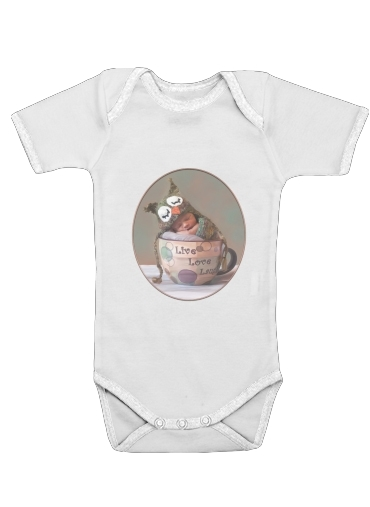 Painting Baby With Owl Cap in a Teacup för Baby short sleeve onesies