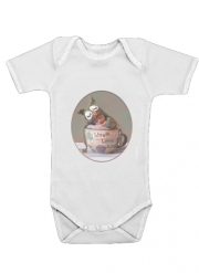 Baby Onesie Painting Baby With Owl Cap in a Teacup