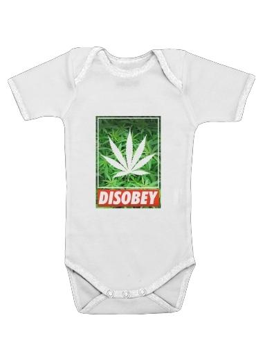Weed Cannabis Disobey voor Baby short sleeve onesies
