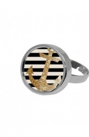 Bague gold glitter anchor in black