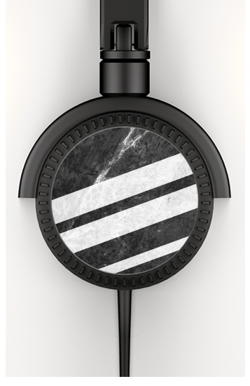 Black Striped Marble for Stereo Headphones To custom