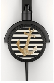 Casque Audio gold glitter anchor in black