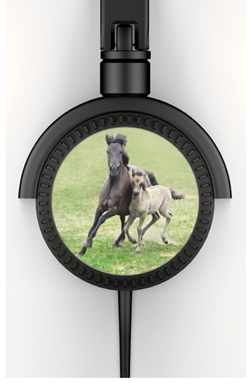 Horses, wild Duelmener ponies, mare and foal for Stereo Headphones To custom