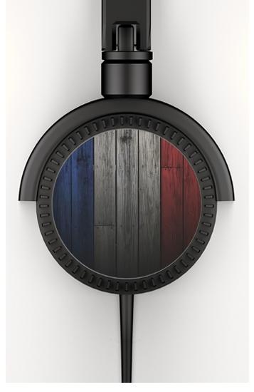 Casque drapeau france sur bois audio personnalis e - Porte casque audio ...
