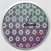 Horloge Murale Abstract bright floral geometric pattern teal pink white