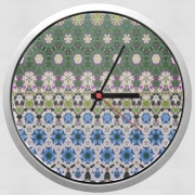 Horloge Murale Abstract ethnic floral stripe pattern white blue green