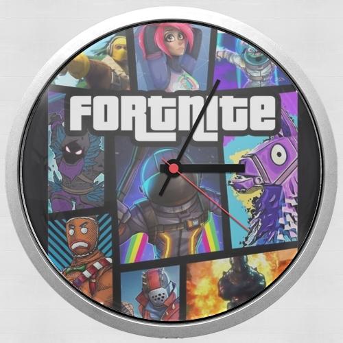 Fortnite - Battle Royale Art Feat GTA for Wall clock