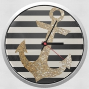 Wall clock gold glitter anchor in black