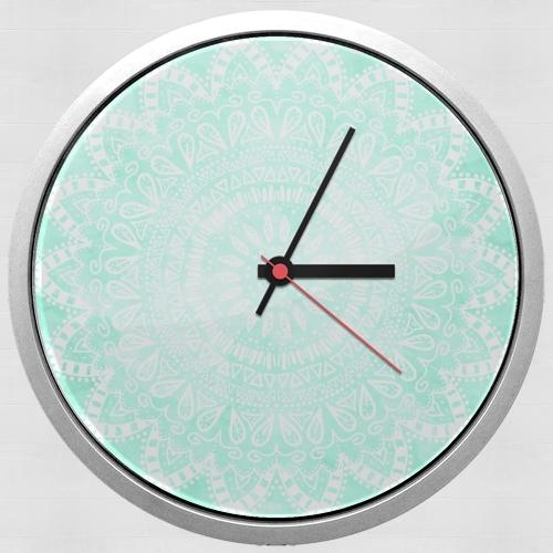 horloge mint bohemian flower mandala murale personnalis e. Black Bedroom Furniture Sets. Home Design Ideas