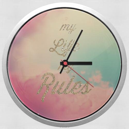 horloge my life my rules murale personnalis e. Black Bedroom Furniture Sets. Home Design Ideas