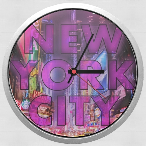 horloge murale new york city broadway couleur rose white sacs accessoires. Black Bedroom Furniture Sets. Home Design Ideas