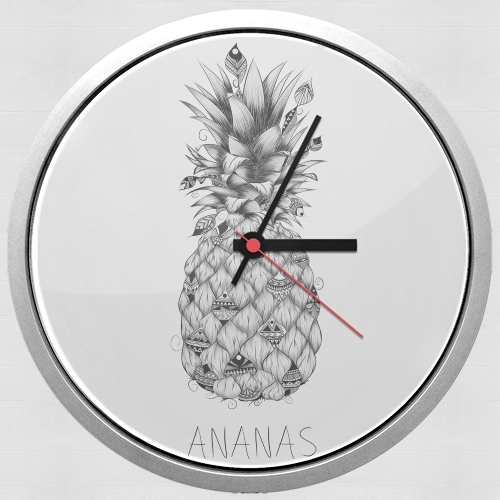 horloge ananas en noir et blanc murale personnalis e. Black Bedroom Furniture Sets. Home Design Ideas