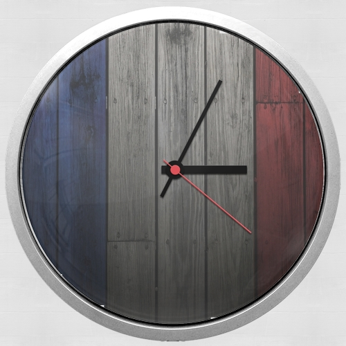 horloge drapeau france sur bois murale personnalis e. Black Bedroom Furniture Sets. Home Design Ideas
