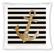 Coussin gold glitter anchor in black