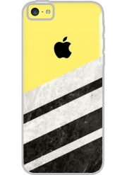 Iphone 5C Hard Case Crystal Transparent Black Striped Marble
