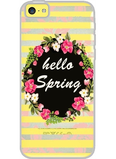 Iphone 5C Hard Case Crystal Transparent HELLO SPRING