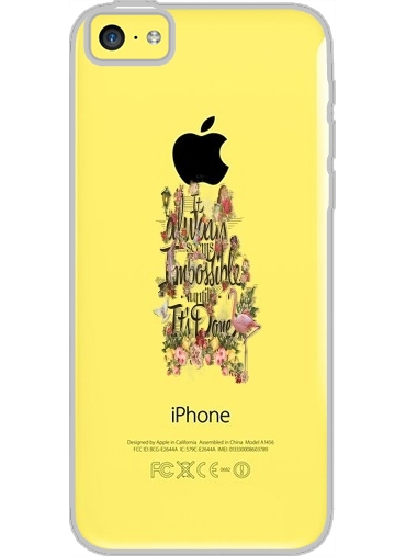 Iphone 5C Hard Case Crystal Transparent It always seems impossible until It's done
