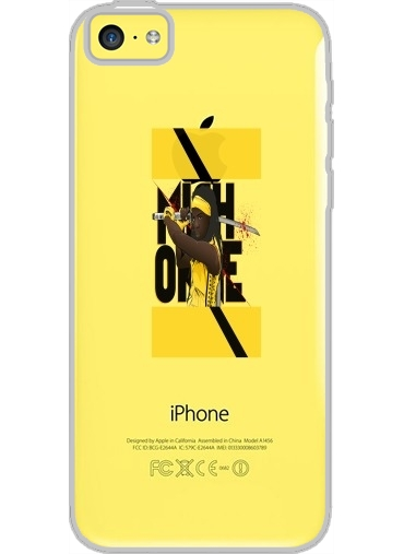 Iphone 5C Hard Case Crystal Transparent Michonne - The Walking Dead mashup Kill Bill