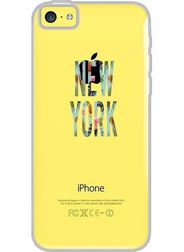 Iphone 5C Hard Case Crystal Transparent New York Floral