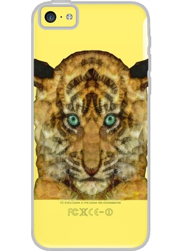 Iphone 5C Hard Case Crystal Transparent tiger baby