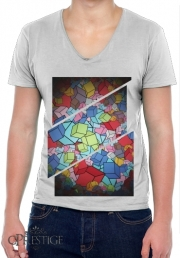 Mens T-Shirt V-Neck Abstract Cool Cubes