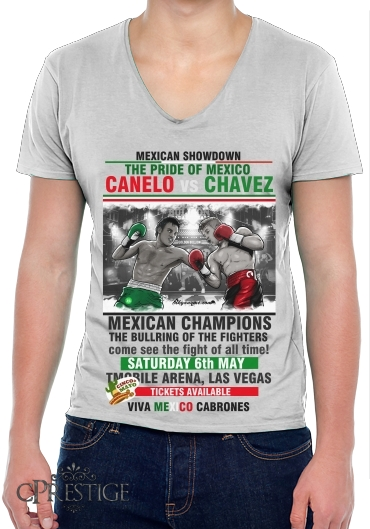 Mens T-Shirt V-Neck Canelo vs Chavez Jr CincodeMayo