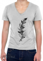 Mens T-Shirt V-Neck Feather