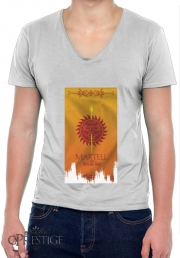 Mens T-Shirt V-Neck Flag House Martell