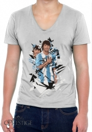 Mens T-Shirt V-Neck Football Legends: Lionel Messi Argentina