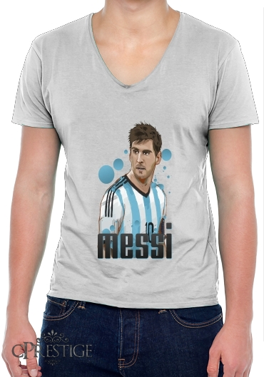 Mens T-Shirt V-Neck Football Legends: Lionel Messi World Cup 2014