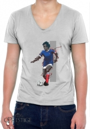 Mens T-Shirt V-Neck Football Legends: Michel Platini - France