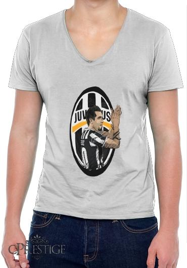 2ef6293d8b3 Mens T-Shirt V-Neck Football Stars  Carlos Tevez - Juventus white - Men