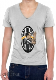 Mens T-Shirt V-Neck Football Stars: Carlos Tevez - Juventus