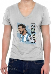 Mens T-Shirt V-Neck Football Stars: Ezequiel Lavezzi - Argentina