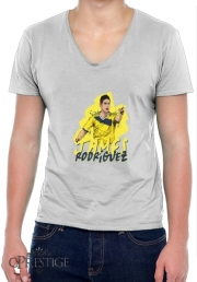 Mens T-Shirt V-Neck Football Stars: James Rodriguez - Colombia