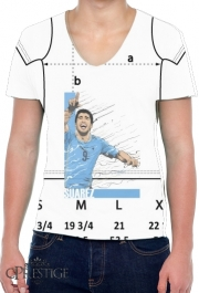 Mens T-Shirt V-Neck Football Stars: Luis Suarez - Uruguay