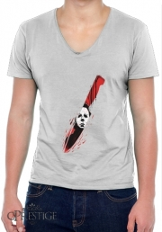 Mens T-Shirt V-Neck Hell-O-Ween Myers knife