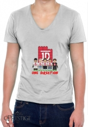 Mens T-Shirt V-Neck Lego: One Direction 1D