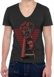 Mens T-Shirt V-Neck Metal Power Gear