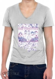Mens T-Shirt V-Neck One Direction 1D Music Stars